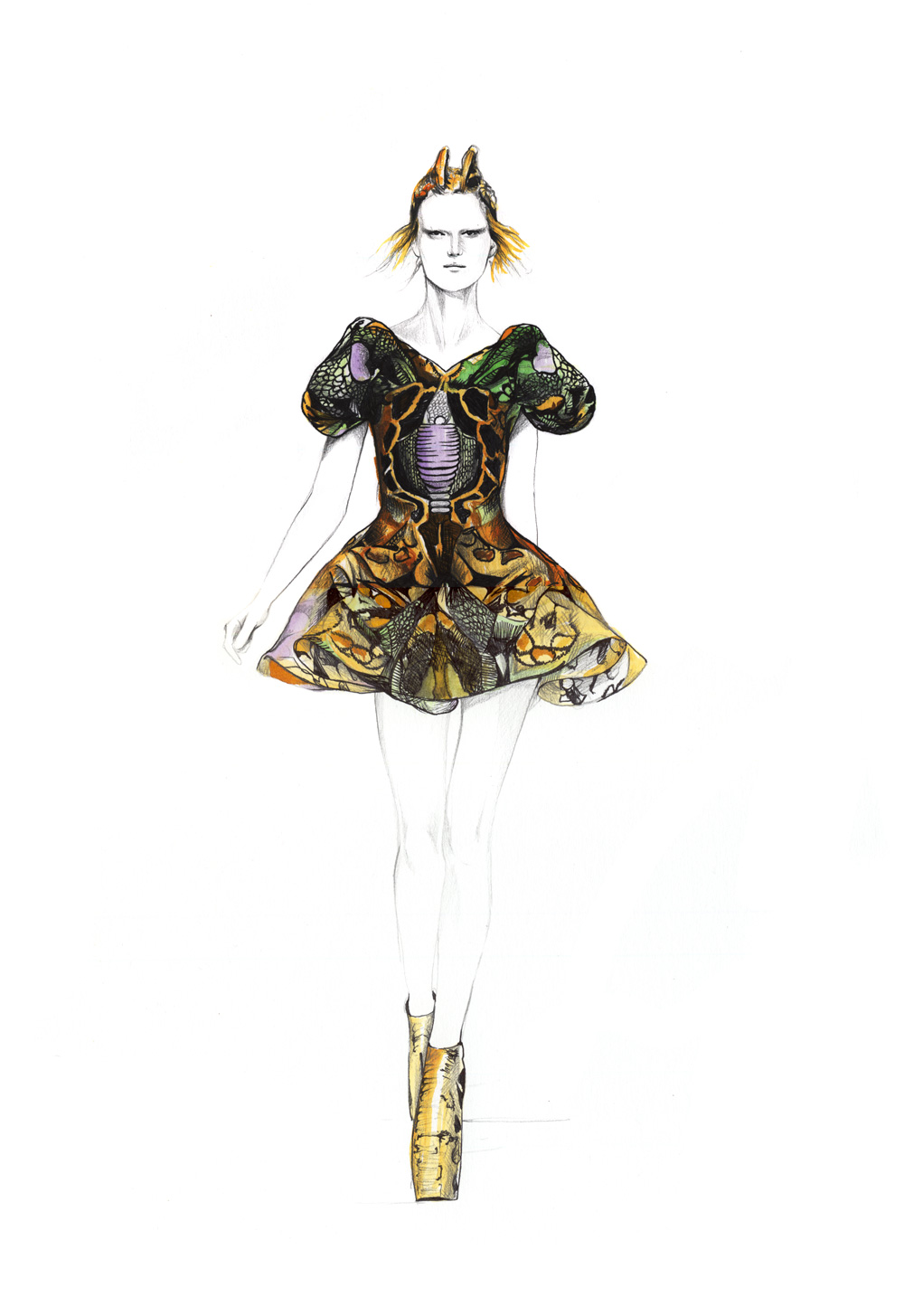 309 best fashion illustration - Alexander McQueen (by for him) 49