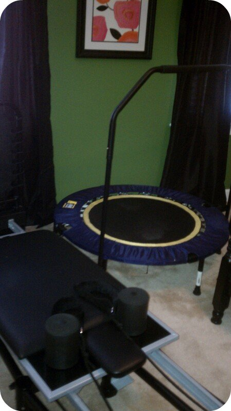 work out space, exercise, bike, pilates, rebounder, urban rebounder