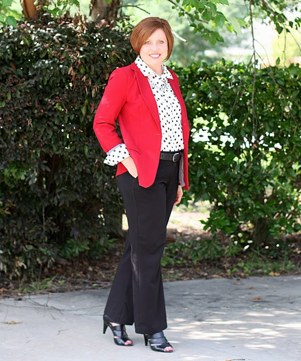 red, white, black office outfit