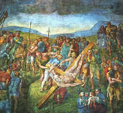 "Painting ""The Crucifixion of St. Peter"" by Michelangelo, 1546-1550"