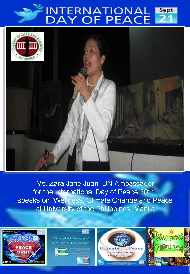 Ambassador Zara Jane Juan speaks on Climate Change, Wellness & Peace @ UP Manila