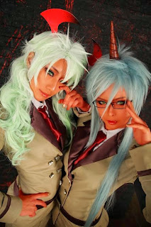 Tasha and Geumdongei cosplay as Scanty and Kneesocks from Panty Stocking with Garterbelt