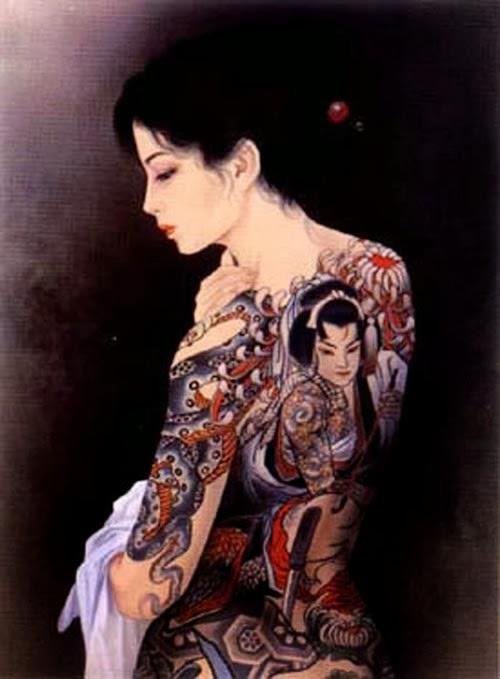 Desenho com tatuagem de gueixa