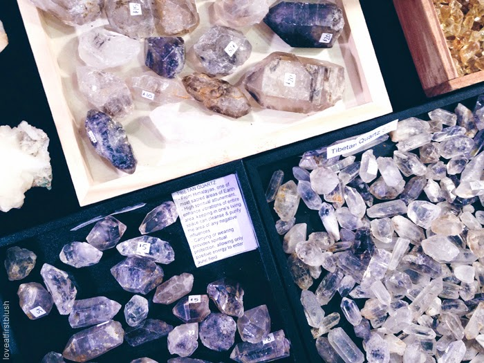 mineral and gem show with tibetan cystal quartz