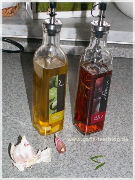 Knoblauchöl und Kräuertessig