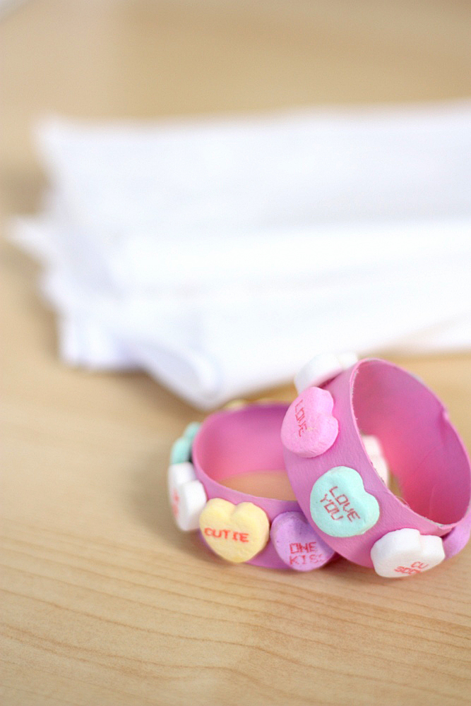 Sweetheart Candy Napkin Rings - an easy Valentine's Day craft to make with kids