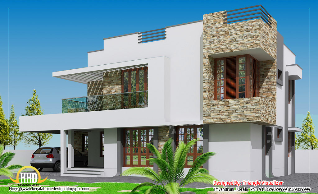 Contemporary home design 2304 sq ft indian house plans for Modern indian house plans