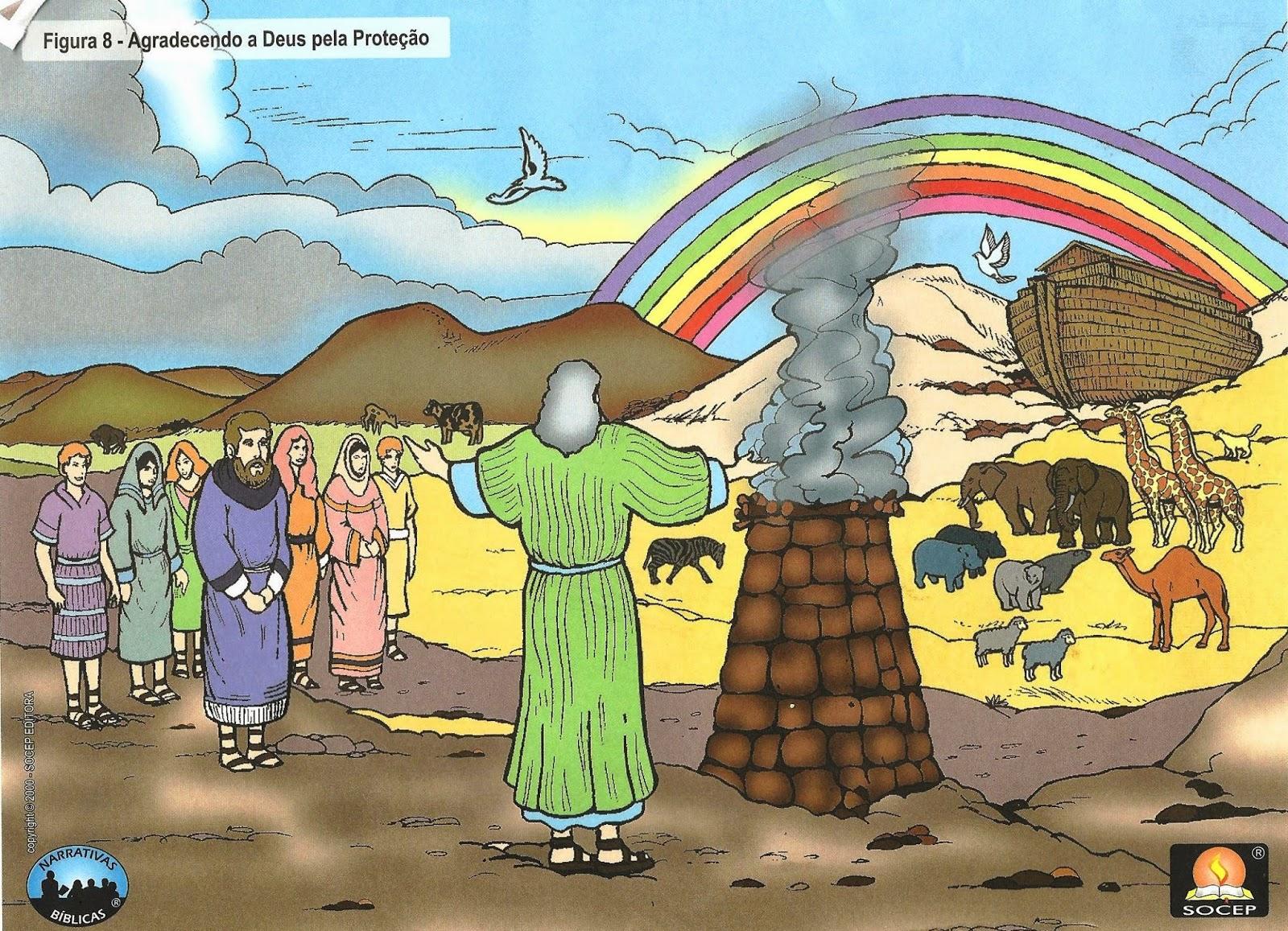 Noé agradecendo a Deus pela proteção
