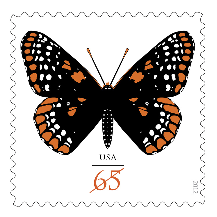 Edhome an awesome cover from usa the two butterfly stamps depicting the baltimore checkerspot were released on 20 jan 2012 for use on large greeting card envelopes that require extra m4hsunfo