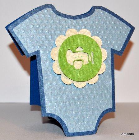 Baby Boy Onesie Shower Card With Airplane