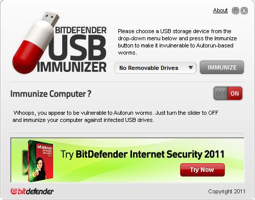 BitDefender USB Immunizer full screenshot