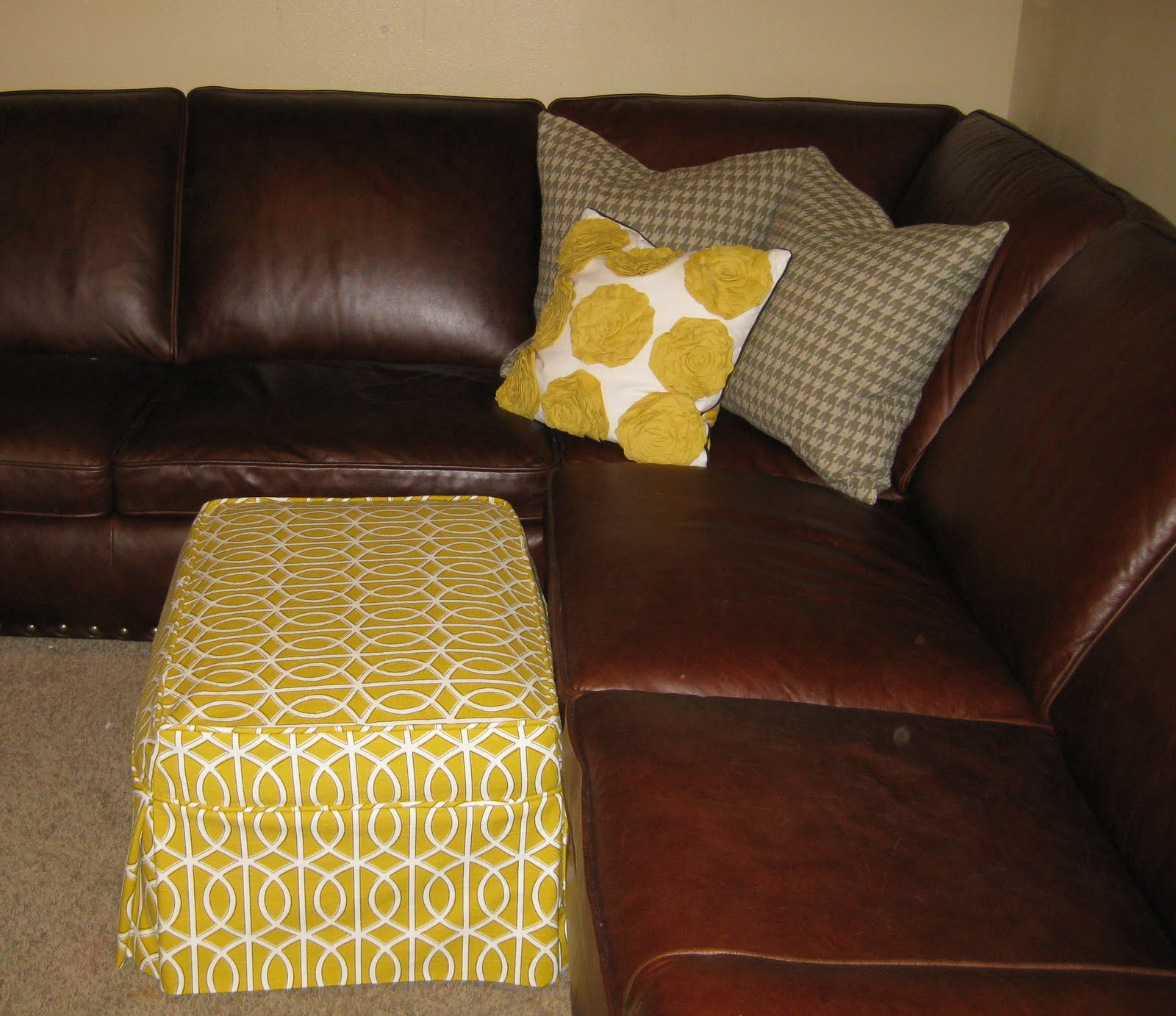 custom slipcovers by shelley basement ottoman and pillows. Black Bedroom Furniture Sets. Home Design Ideas