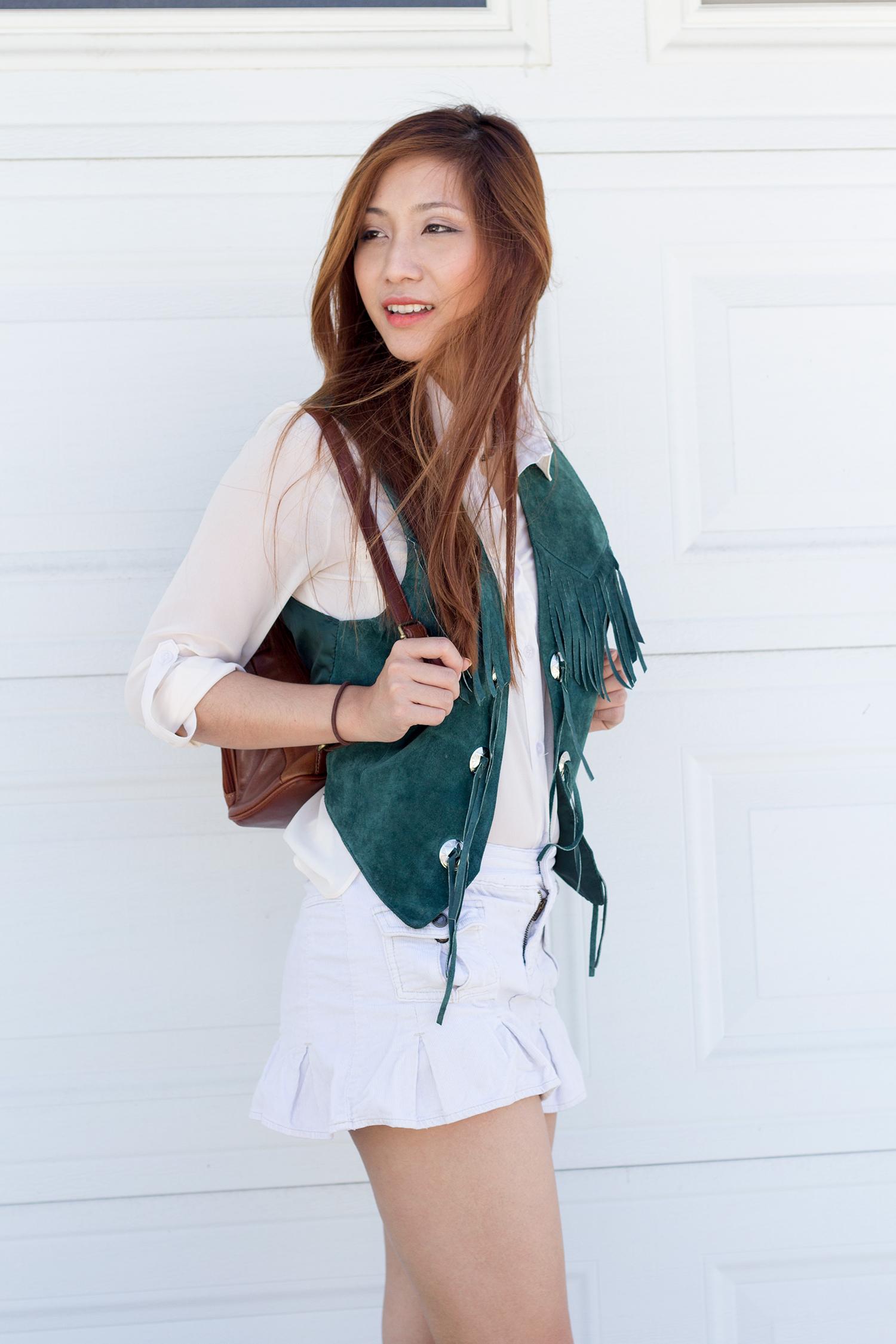 Outfit : Green Fringe Vest OOTD
