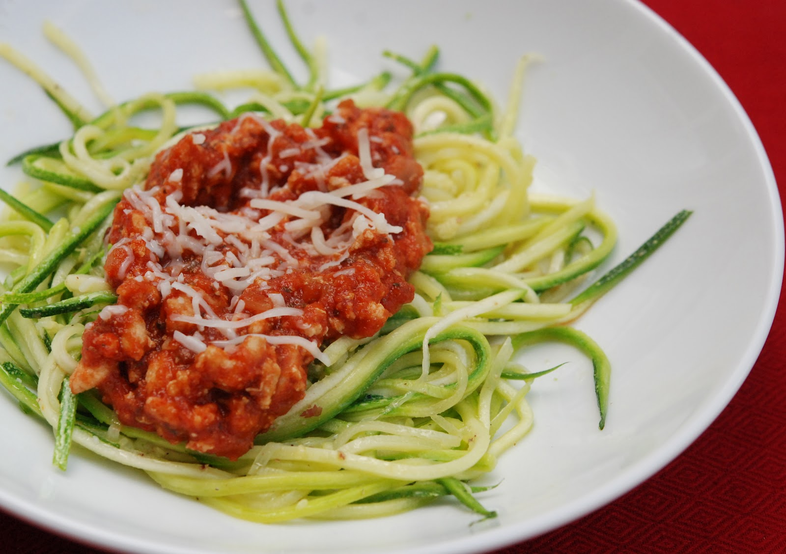 Zucchini Spaghetti with Meat Sauce