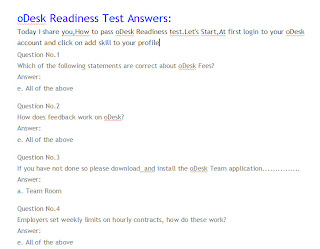 Odesk readiness test questions and answers
