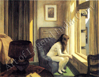 The central themes of Hopper`s work is the spiritual emptiness of f modern urban life and here he shows a woman staring listlessly out of her window at another uneventful day. Her facial expression is not shown but Hopper masterfully conveys her weariness through the sluggish altitude of her body. Although his work is in many ways austere, Hopper was extremely frank in his depiction of the nude, and figures here a very solid sense of physical presence, in keeping finless of structure of the picture as a whole.