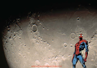 Spiderman desktop Wallpaper Comic Hero Standing Tall in Moon Light Landscape Desktop wallpaper