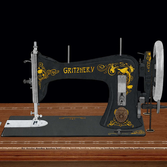 cabeza maquina de coser, Gritzner, dibujo