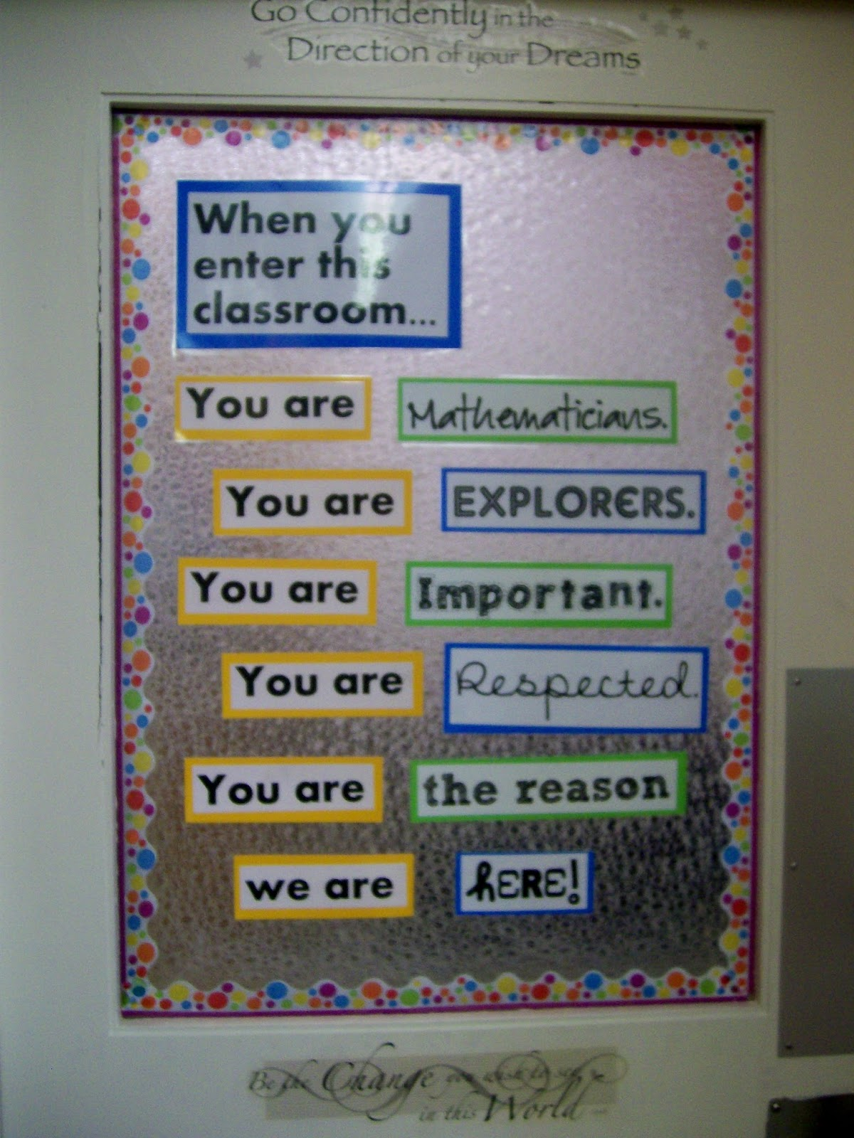 Math love what 39 s on my classroom walls for Back to school board decoration