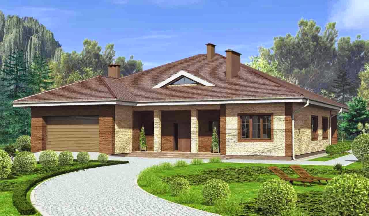 Дизайн дома с гаражом снаружи