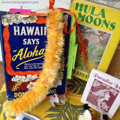 Hawaiian vintage books, written by Don Blanding, May Day display at the Bailey House Museum