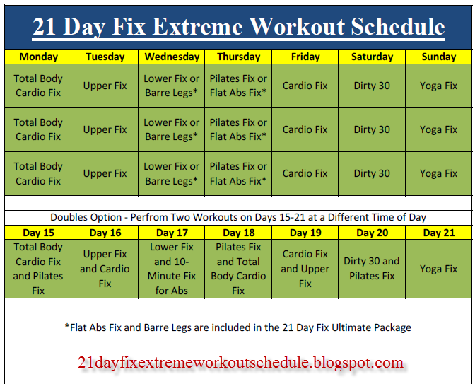 Fix Extreme Workout Schedule: Best 21 Day Fix Extreme Workout Schedule ...