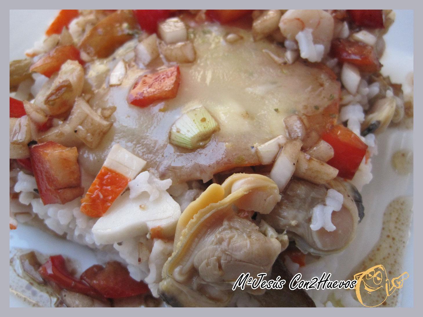 Con2huevos ensalada de arroz con setas gambas y almejas - Arroz con gambas y almejas ...