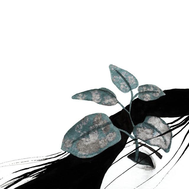 Inktober, planta, motivos vegetales, tinta y lejía, planta naciendo de un ojo
