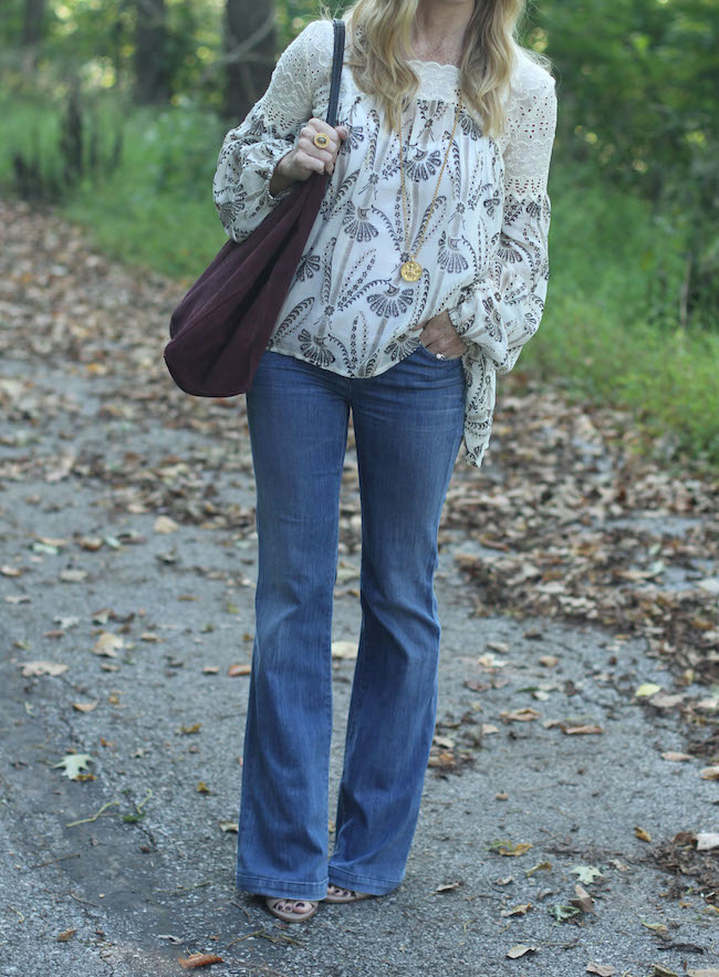 goldsign flare jeans, anthropologie peasant top