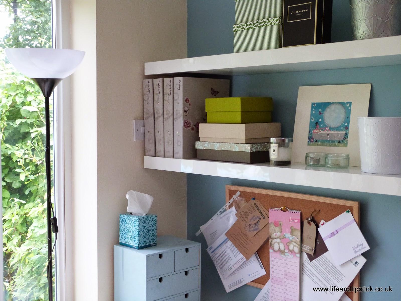 interior design, design ideas, desk, pin board, ikea shelves