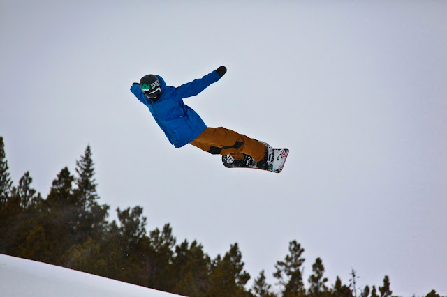 A snowboard trick from the halfpipe in Breckenridge, Colorado.