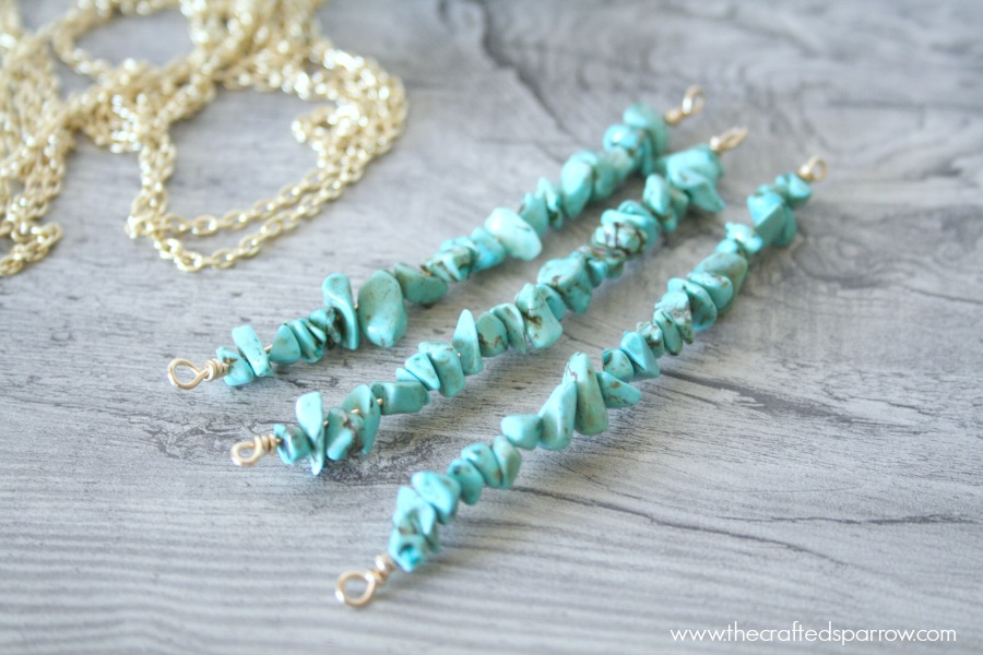 DIY Simple Turquoise Necklaces - The Crafted Sparrow