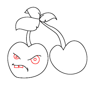 How To Draw Plants vs Zombies Cherries Step 5