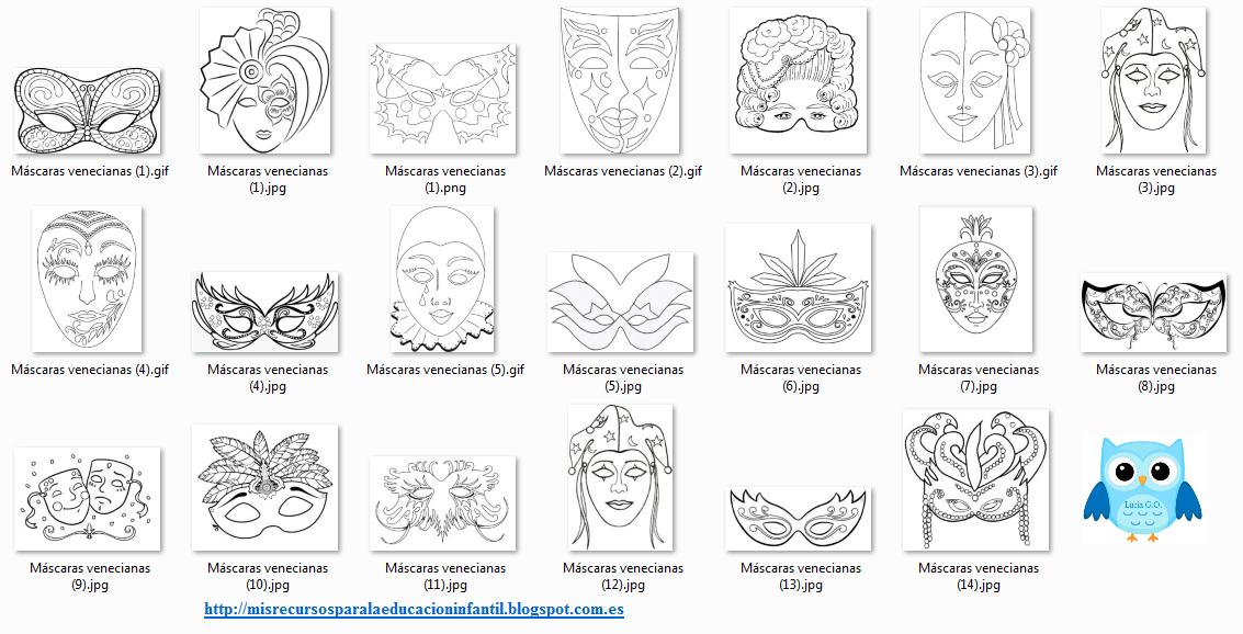 Play & Learn: Máscaras venecianas para colorear