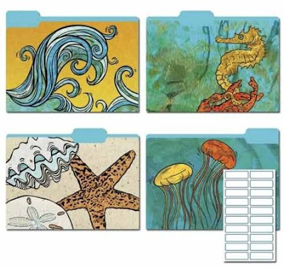 file folders with images from the sea - waves, starfish, etc.