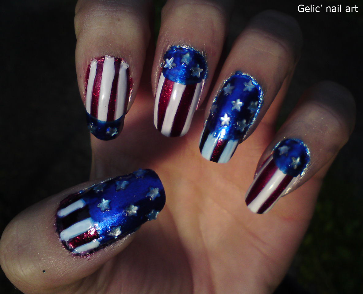 Gelic Nail Art 4th Of July Nail Art Design Number 2 Of The Day