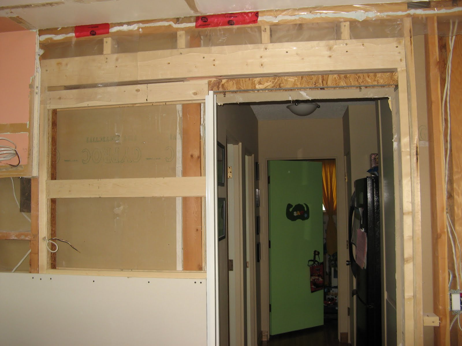 Superbe We Bought A Sliding Pocket Door Kit From Home Depot. It Comes Mostly  Assembled, We Just Had To Slide It Into The Opening Weu0027d Created Within The  Wall, ...