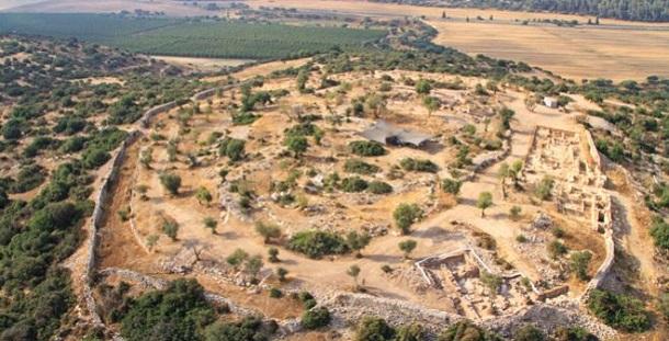 Vista aérea do local onde foi encontrado palácio do tempo do Rei David em Israel
