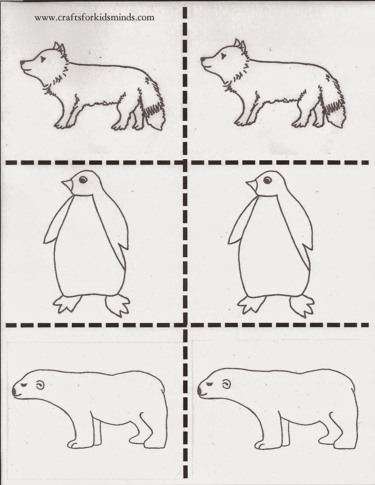 crafts for kids u0027 minds arctic animals memory game printable