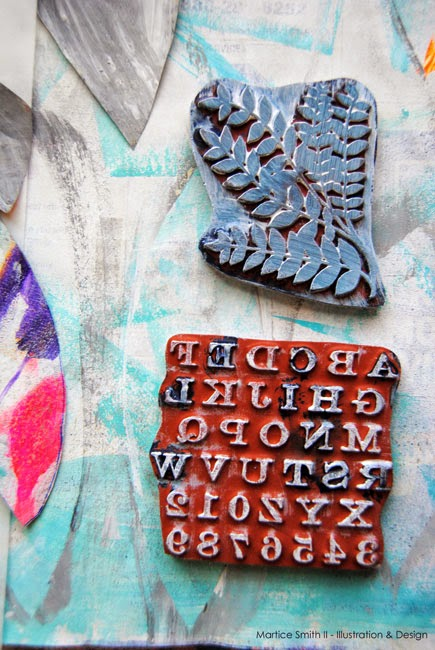 Universe DreamCatchers; Large fern and RubberMoon Alphabet stamps