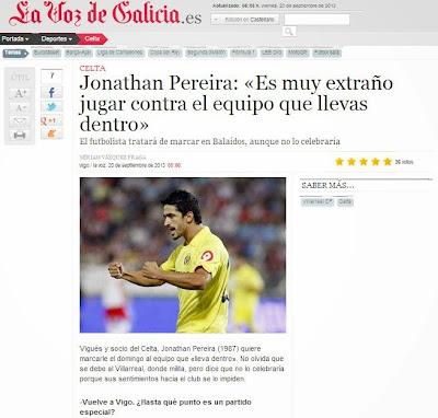 Entrevista a Jonathan Pereira en La Voz de Galicia