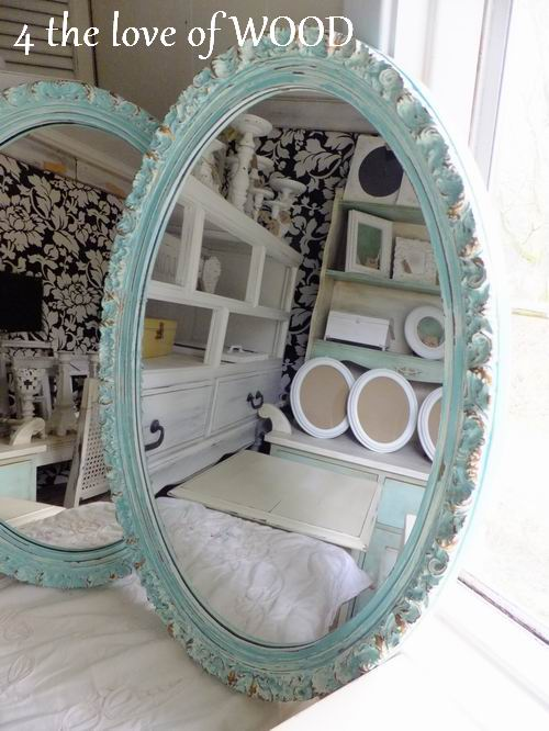 4 the love of wood: PAINTING TURQUOISE MIRRORS - oval plastic mirror ...