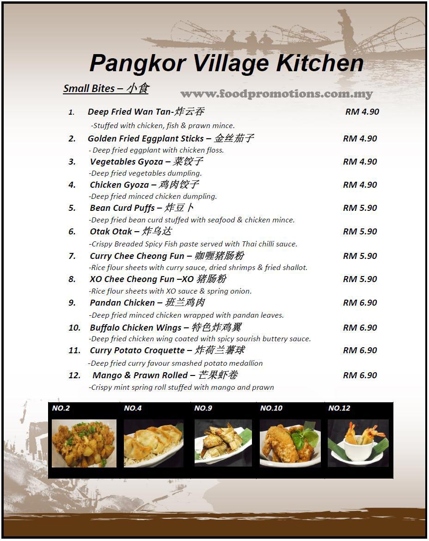 Food Street Pangkor Village Kitchen Menu