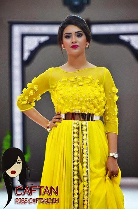 Caftan haute couture jaune demi-saison 2015