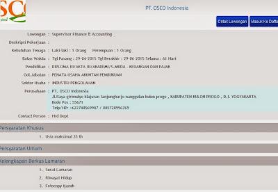 Lowongan kerja resmi PT. OSCO Indonesia
