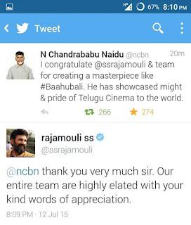 AP CM Twitter Words on Telugu Rajamouli