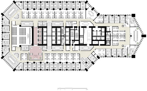 Mercury City Tower floor plans of the upper floors