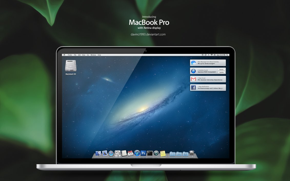 Apple MacBook Pro Design in PSD, PNG, ICO, ICNS