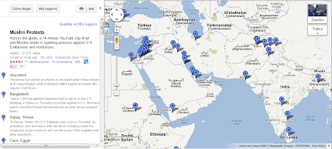 Mapa de Protestas por Videos que Ridiculizan al Profeta Mahoma