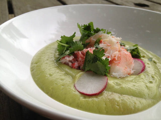 avocado lime soup with fresh crab